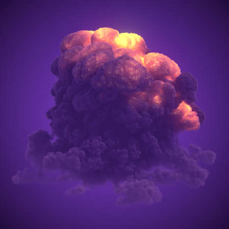 Detonation with large plumes of violet chemical smoke. Abstract hot explosion for concept design. 3d rendering digital illustration Imagens