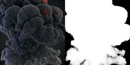 Realistic great cloud of dark smoke on black background for concept design. Modern futuristic texture with alpha matte. Abstract technology concept. 3d rendering digital illustration 免版税图像