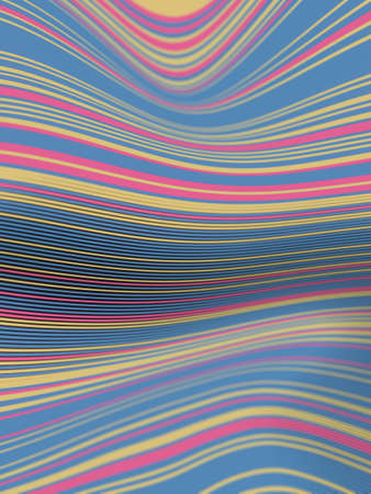 Wavy digital illustration of striped pattern floating multicolored lines. Trendy colorful geometric backdrop. Minimal style. 3d rendering creative design. Decorative art