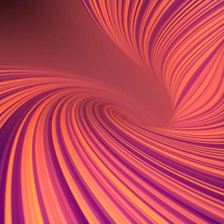 Twisted wavy glowing lines in abstract style. Multi colored background with depth of field. Geometric 3d rendering digital illustration. Futuristic digital texture. Line art design element