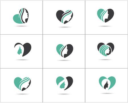 Spa and salon logo design set, Beauty lady in heart shape vector icons, cosmetics and makeup artist symbol, beauty salon shop logos illustration.  イラスト・ベクター素材