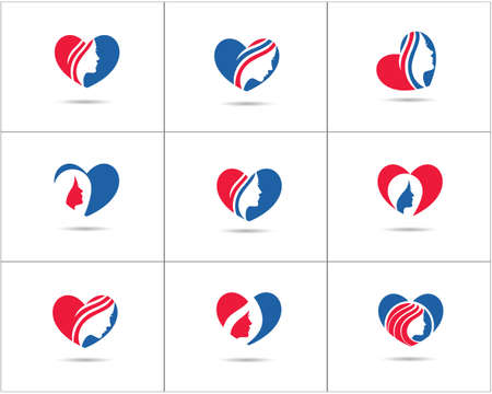 Spa and salon logo design set, Beauty lady in heart shape vector icons, cosmetics and makeup artist symbol, beauty salon shop logos illustration. Illustration