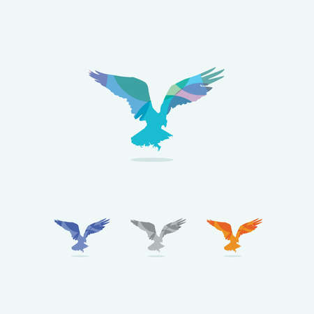 Colorful hawk vector design, bird symbol.