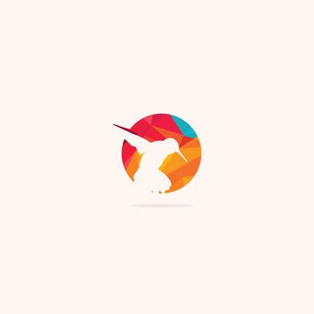 Humming bird vector logo design. Sparrow icon. bird with pin symbol.
