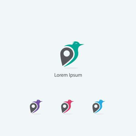 Sparrow vector design icon. Bird with pin symbol.
