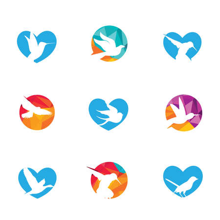 Low poly vector birds design set, eagle and humming bird in heart and circle.  イラスト・ベクター素材