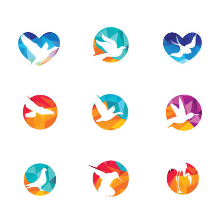 Low poly vector birds design set, dove and humming bird in heart and circle.