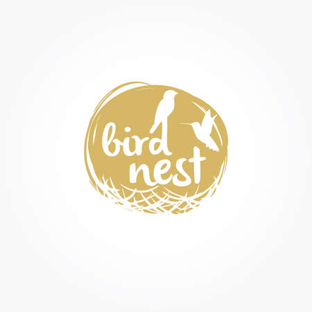 Bird nest logo design, birds vector icon isolated on plain background