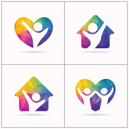 Low poly love People home logo design, happy family home concept, shelter house for poor and orphan children vector illustration, happy kid in home and heart icon.