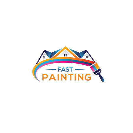 House paint logo design, Home painting service vector icon, construction and coloring company logo.
