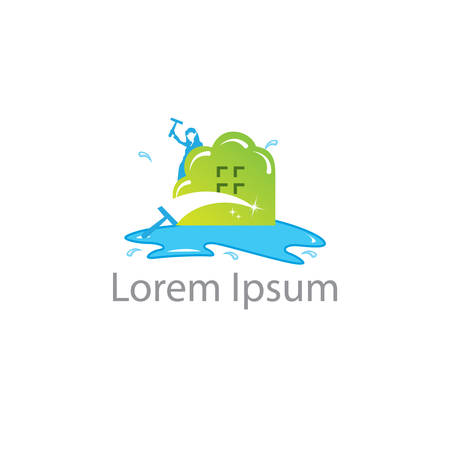 Cleaning service vector logo emblem or icon design template. Clean house isolated illustration. Home with lather soap foam and water drops.  イラスト・ベクター素材