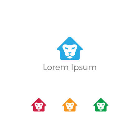 Lion in home vector logo design.