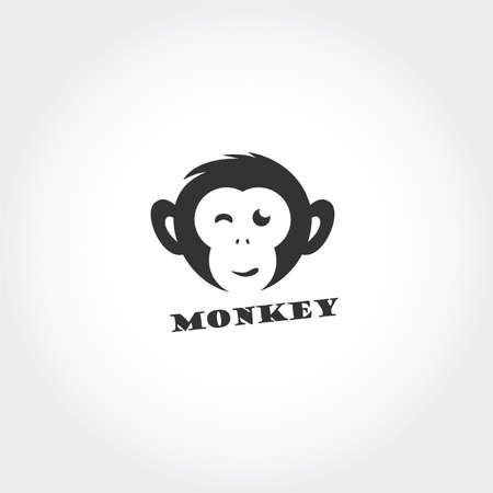 Monkey head vector logo design. Chimpanzee icon.
