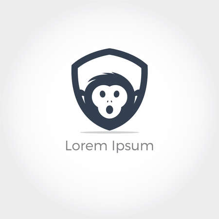 Monkey head vector logo design, chimpanzee in shield icon. Иллюстрация