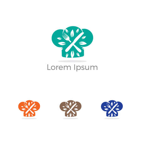 Restaurant logo design, spoons in chef cap vector, healthy food lover icon. Çizim