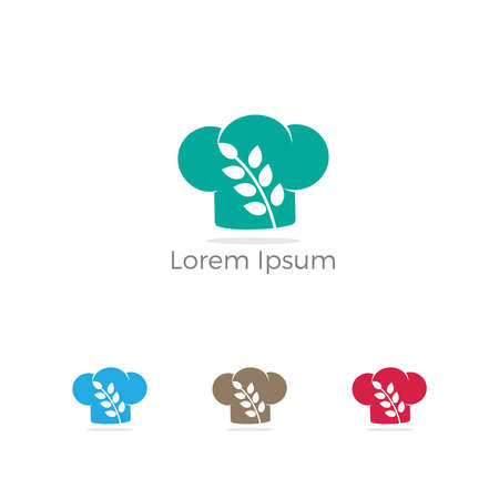 Restaurant logo design, gluten in chef cap vector, healthy food lover icon.