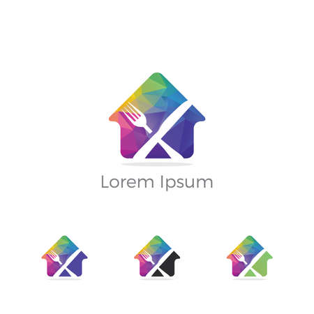 Restaurant logo design, spoon in home vector, healthy food icon. Stock Illustratie