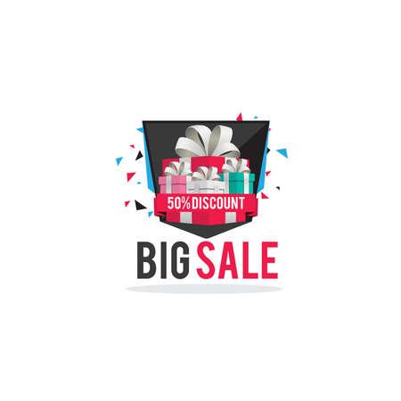 Big Sale Banner or Poster. Sale and Discounts vector Background. Holiday Sale illustration. Summer Sale Design Template. Sale Sticker. Sale Label. Vectores
