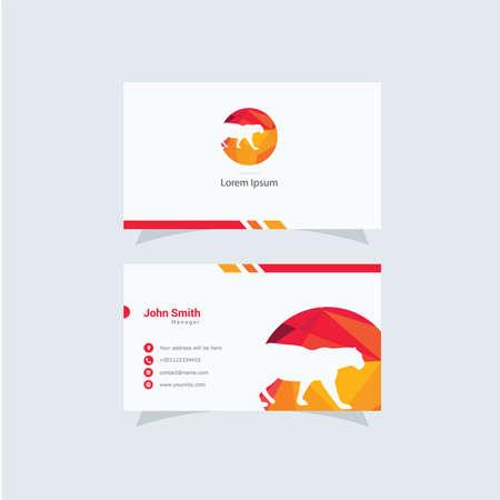 Panther or tiger vector logo and business card design Illustration