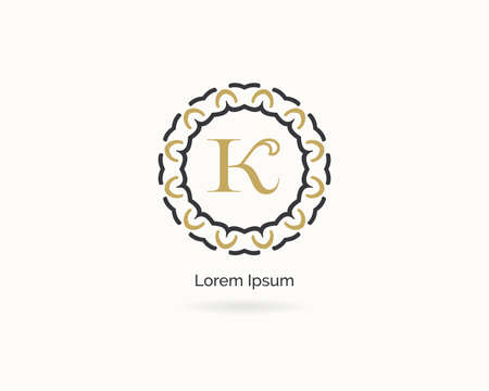 Premium letter K logo icon vector design. Luxury jewelry frame gem edge logotype. Spa and salon or cosmetic monogram.