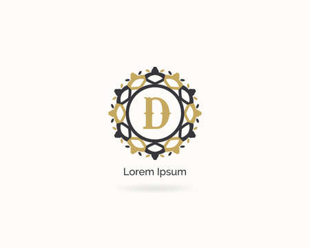 Premium letter D logo icon vector design. Luxury jewelry frame gem edge logotype. Spa and salon or cosmetic monogram. Stock Illustratie
