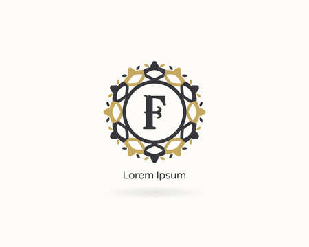 Premium letter F logo icon vector design. Luxury jewelry frame gem edge logotype. Spa and salon or cosmetic monogram. Illustration