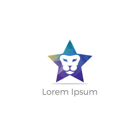 Lion logo design vector illustration, animal icon, tiger head symbol. lion in star.