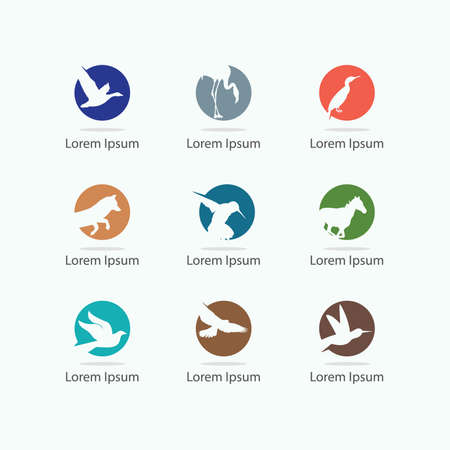 Birds set, duck, fox icon, hawk, humming bird vector design.