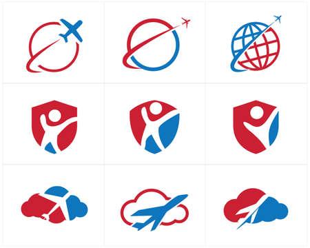 Reizen logo's decorontwerp, vliegtuig in huis, hart en wolk, toerisme vector iconen.