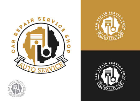 Automobile, car repairing service logo design, wrench in gear icon, mechanic tools vector illustration. Çizim