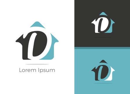 Real Estate D letter design, letter D in home vector icon. Ilustração