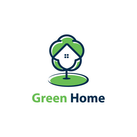 Eco home concept. Green home vector icon, real estate, property logo design. Illustration