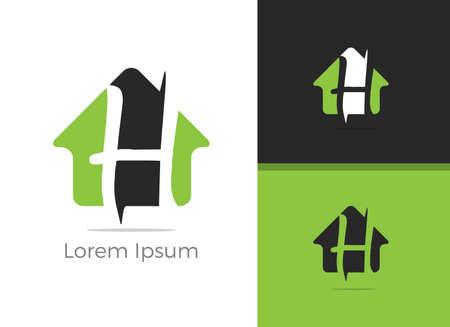 Real Estate H lettera logo design, lettera h in casa icona vettore. Logo