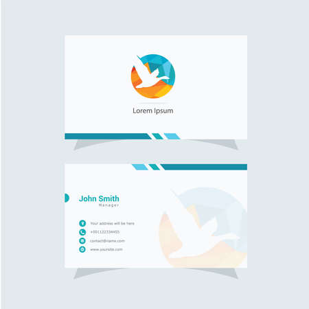 Polygonal Duck logo, abstract low poly bird flying vector design, bird business card