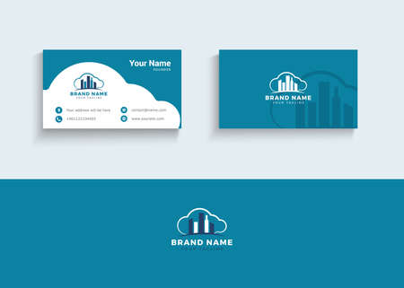 Building and construction vector logo and business card. Real estate agent business card vector illustration.