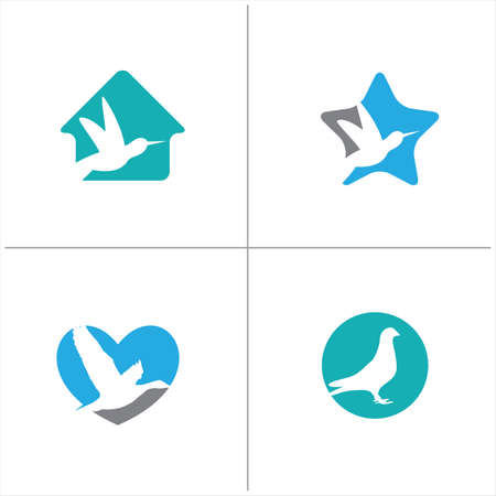 birds vector logo design, blue heart, hummingbird in star, house illustration