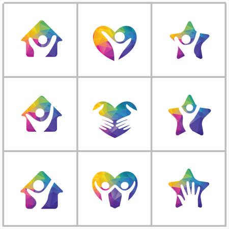 Colorful animals in star, house, cross medical sign illustration, love, care vector logo design.