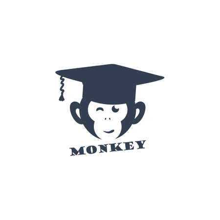 Monkey face logo, educated monkey, professor monkey