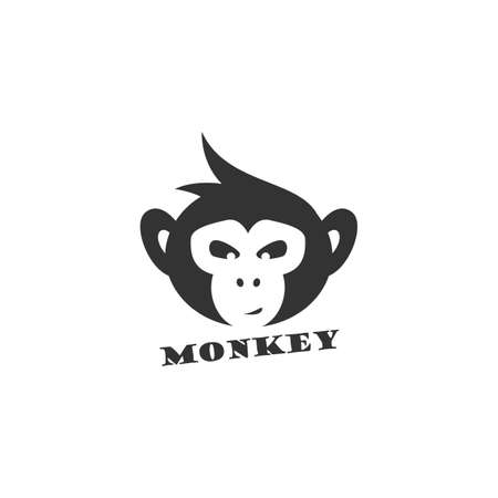 Monkey vector design icon. chimpanzee head logo. 일러스트