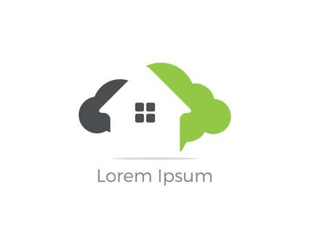 Cloud home vector logo, Creative studio, software house illustration, real estate icon.