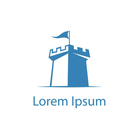 Fort Logo Design, castle vector illustration.  イラスト・ベクター素材