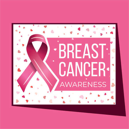 Breast cancer awareness campaign vector poster design. Strong woman breast protection message illustration. Illusztráció