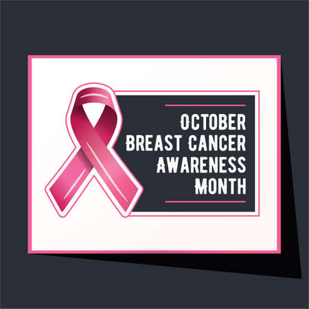 Breast cancer awareness campaign vector poster design. Strong woman breast protection message illustration. Standard-Bild - 131447608
