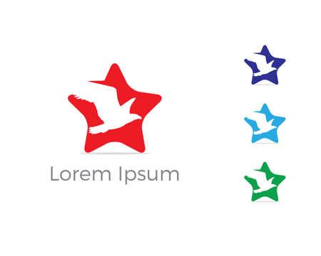Bird logo vector design, birds lover icon, humming bird in star vector illustration.