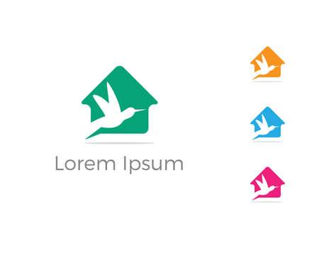 Bird logo vector design, birds lover icon, eagle bird in home vector illustration.