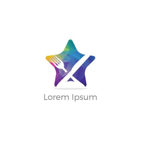 Logo de restaurant low poly, industrie alimentaire biologique saine, vecteur de logo à emporter, cuisson en étoile à la cuillère. vecteur coloré,