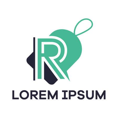 R letter logo design. Letter R in salediscount tag vector illustration. 일러스트