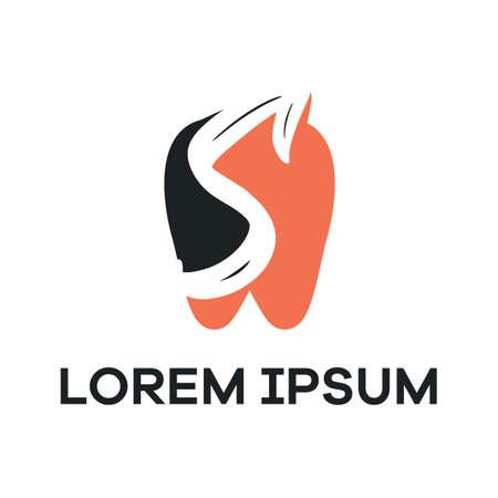 S letter logo design. Letter s in tooth shape vector illustration. Illusztráció