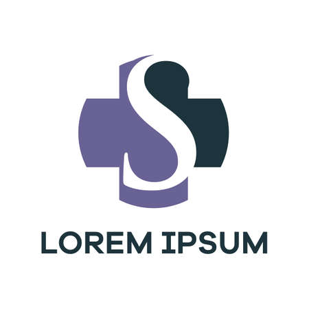 S letter logo design. Letter s in plus medical shape vector illustration.