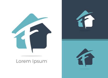 Real Estate agency letter F logo design, F letter in home vector icon. Stock Illustratie